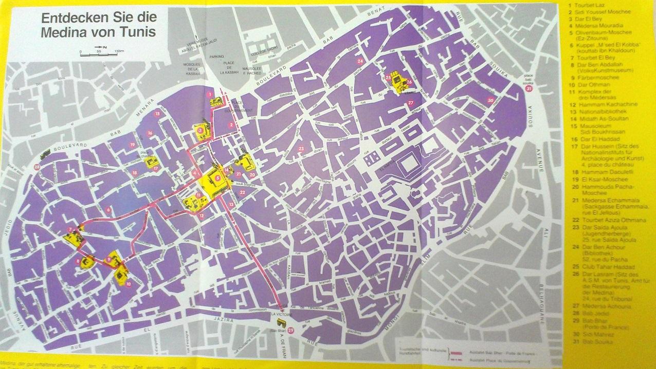 麥地那 Medina 主要古蹟分布圖 (按圖可以放大)