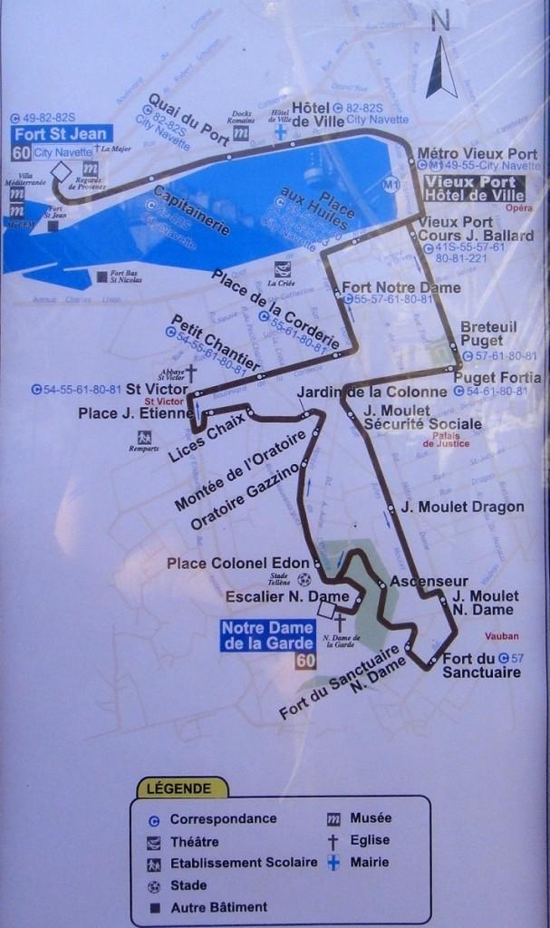 60 號公車的路線圖