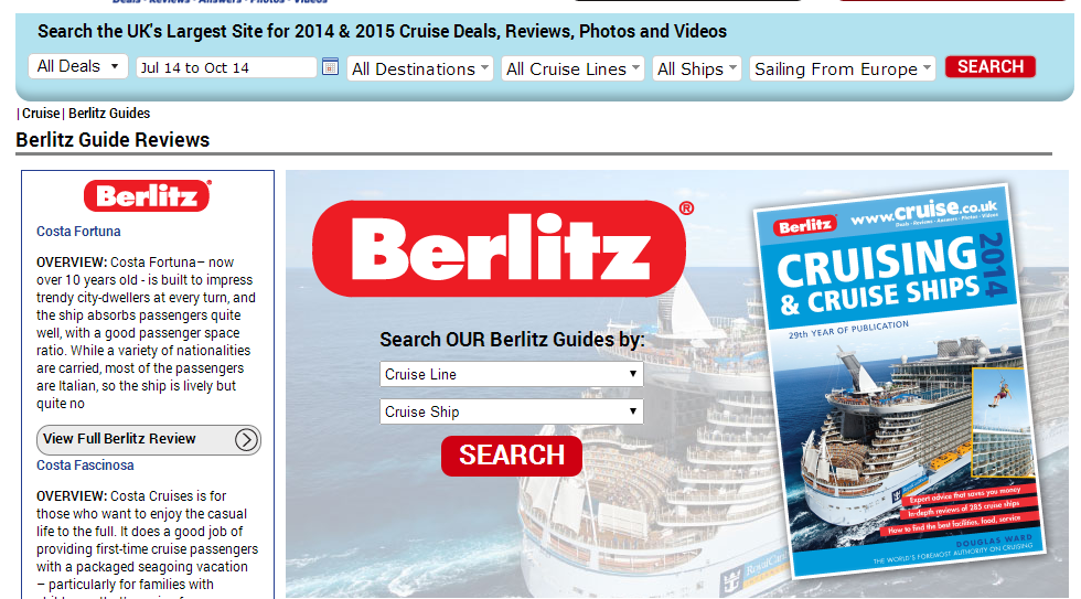 cruise.co.uk 的線上 Berlitz查詢系統