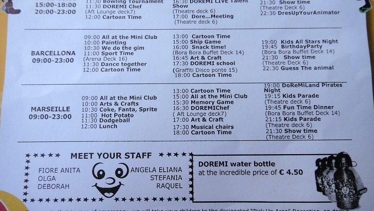 kids club 活動表背面有詳細的活動及時間