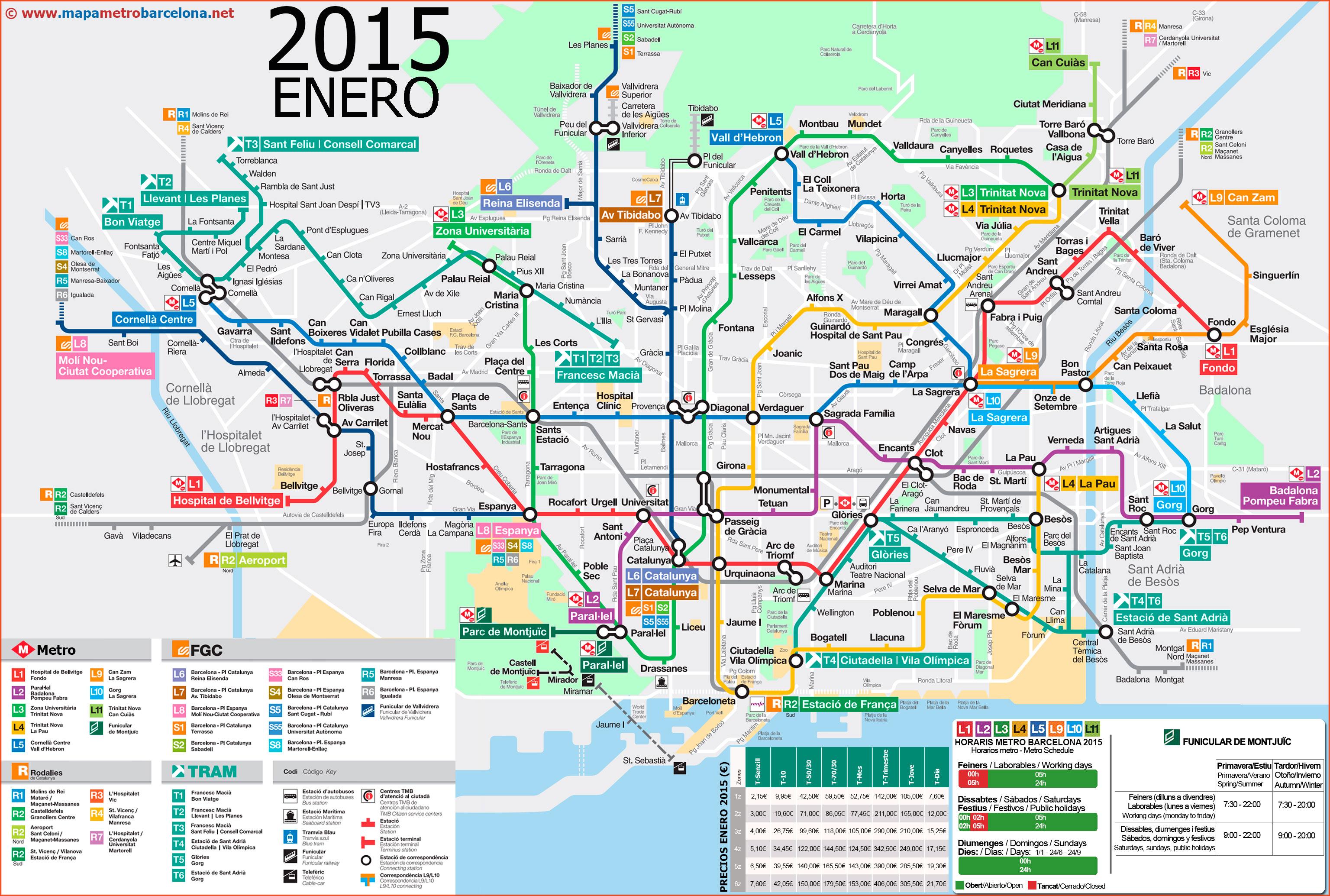 巴塞隆纳火车+地铁图 (点图可以放大)