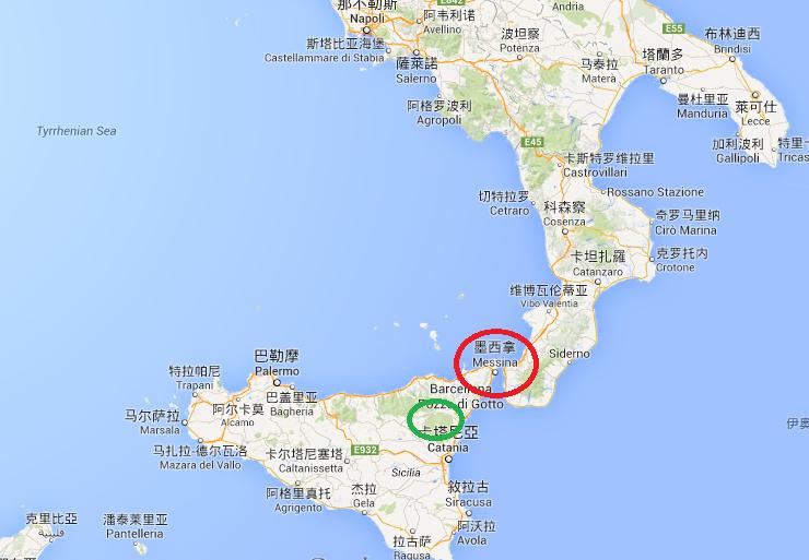 紅色圈圈是 Messina,綠色圈圈是 Etna 火山所在