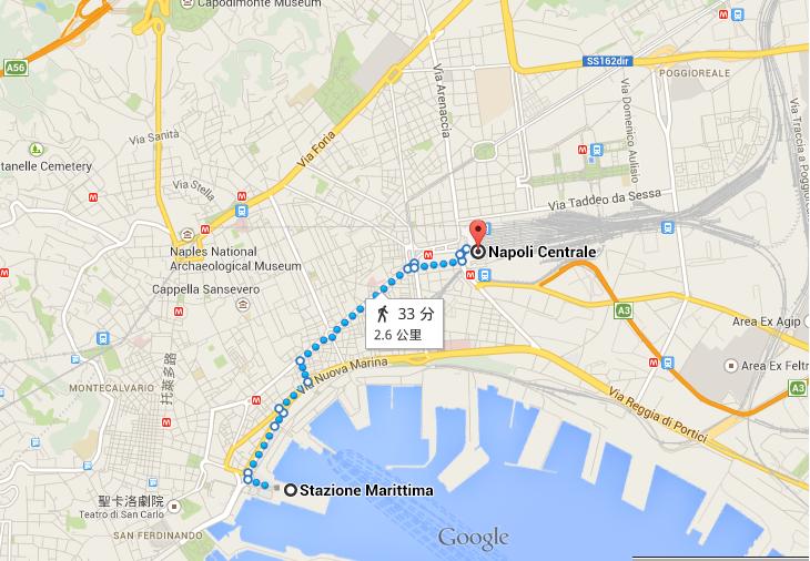 從Naples港口到火車站