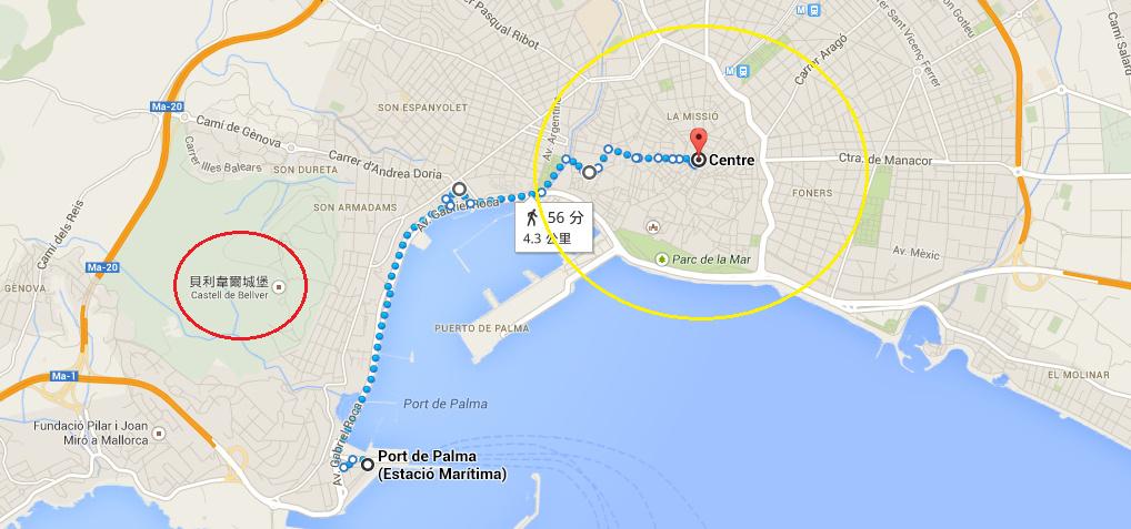 黃色圈圈是市中心大概位置