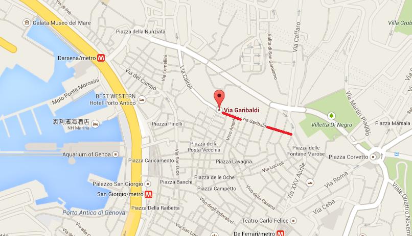 这里有一条历史老街 Via Garibaldi (长约250公尺)