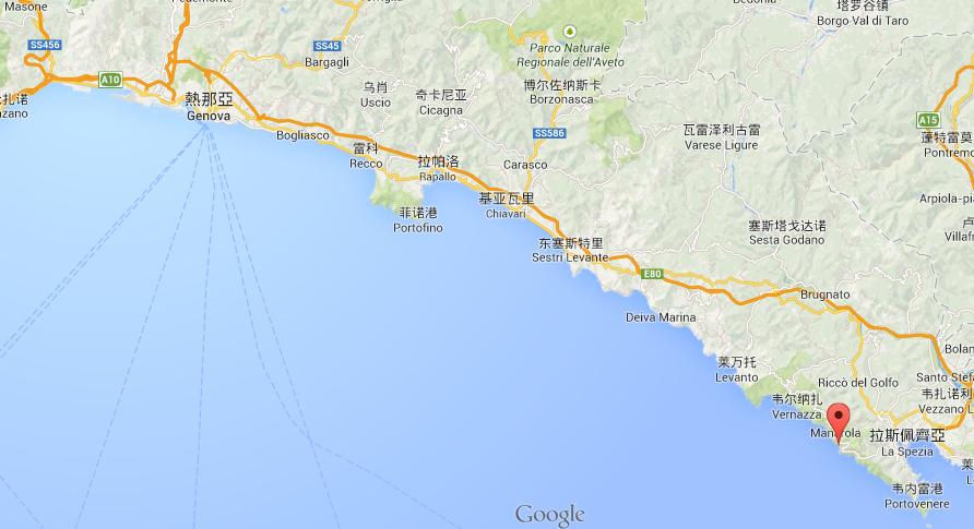 五渔村的地理位置