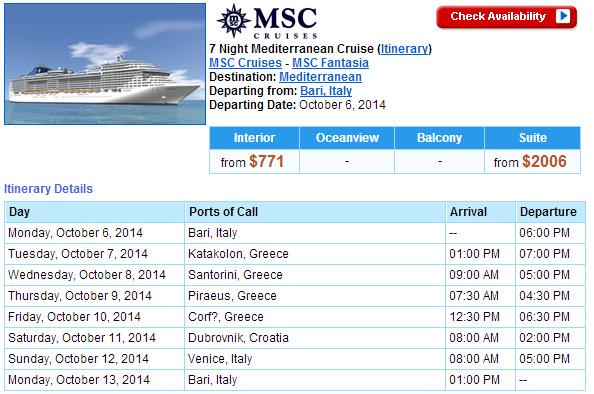 MSC Fantasia 的東地中海行程