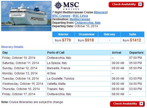 MSC Lirica 西地中海北非行程