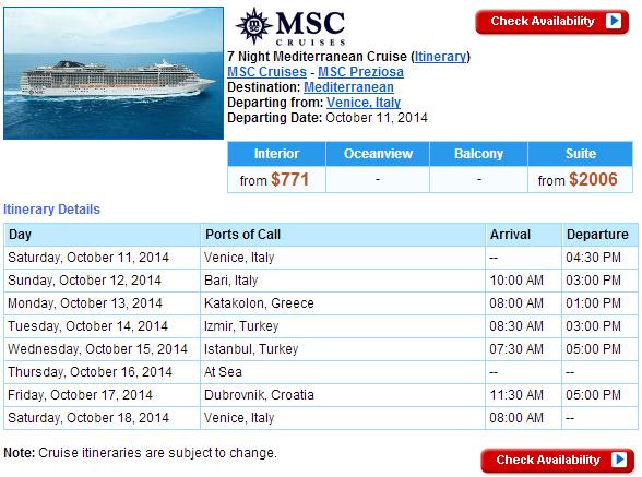 MSC Preziosa 的東地中海行程