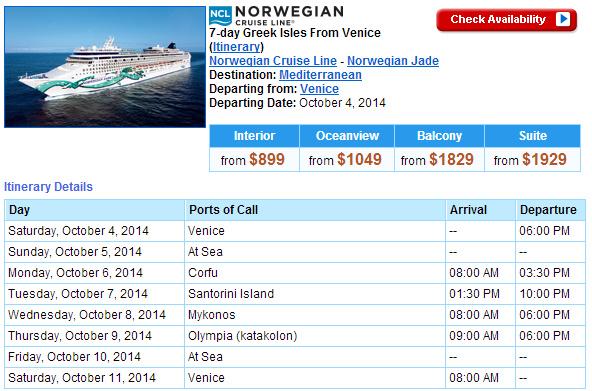 Norwegian的東地中海行程