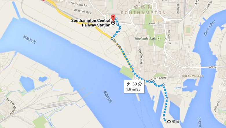 QEII 碼頭距離火車站走路約30分鐘