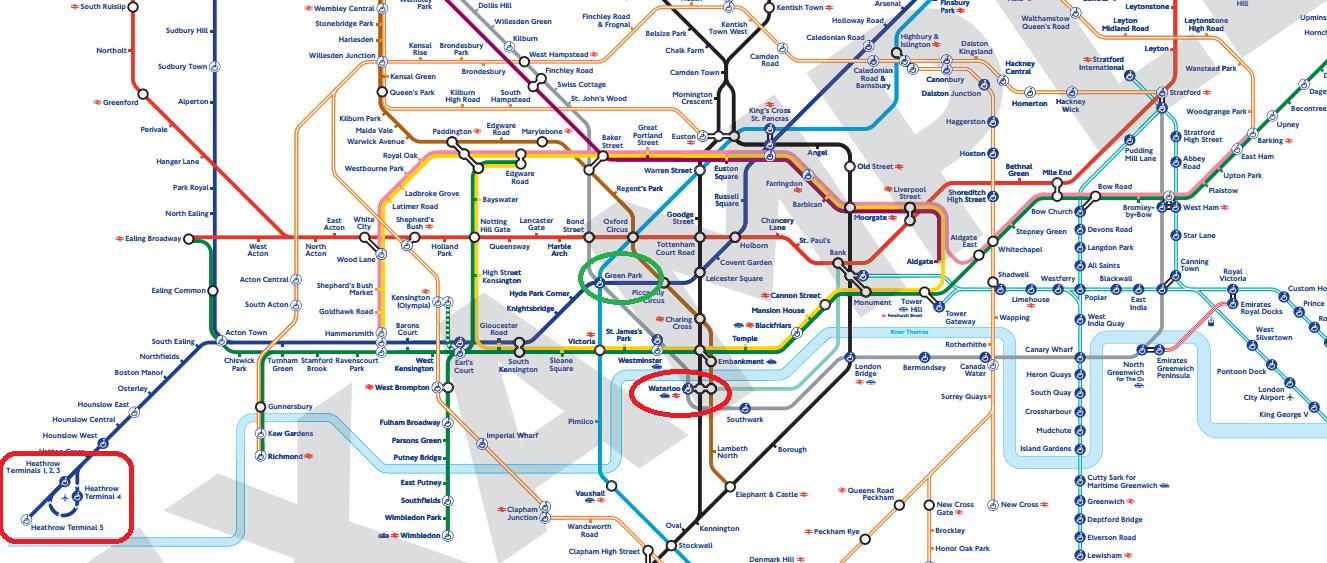從 Heathrow 機場到 Waterloo 火車站,搭 深藍色的 Piccadilly 線到 Green park 再轉灰色的 Jubilee 線
