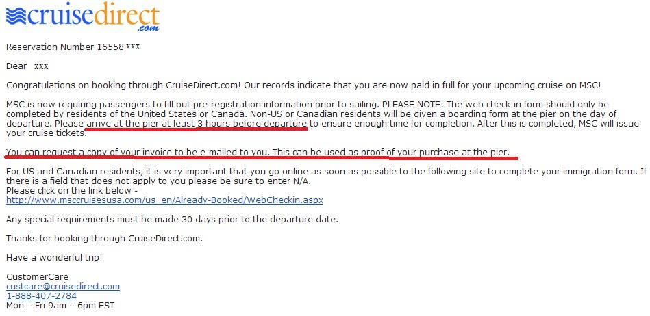 MSC 只要求住在美加地區的遊客做 web check-in