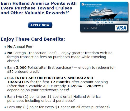 Holland America 的聯名信用卡優惠內容