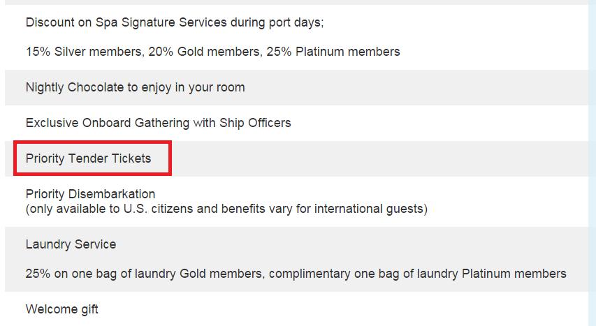 有些郵輪公司是發號碼牌來決定搭小船的順序 (遊輪公司的會員可以有優先下船的福利 ....... 這表示其他旅客想早點下船,還得多等等 ><)