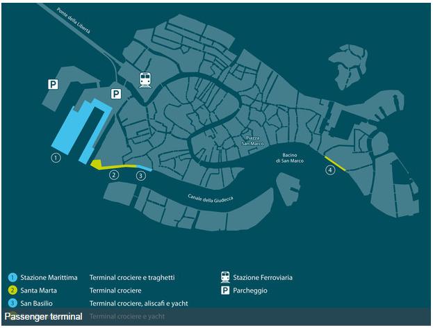 威尼斯共有四個遊輪碼頭,圖中編號1是大型遊輪停靠處,比較小型的遊輪有可能停靠在2或3