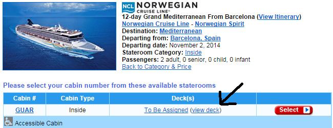 按下 view deck 檢視船艙配置