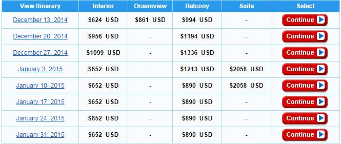 其他出航日期和價格