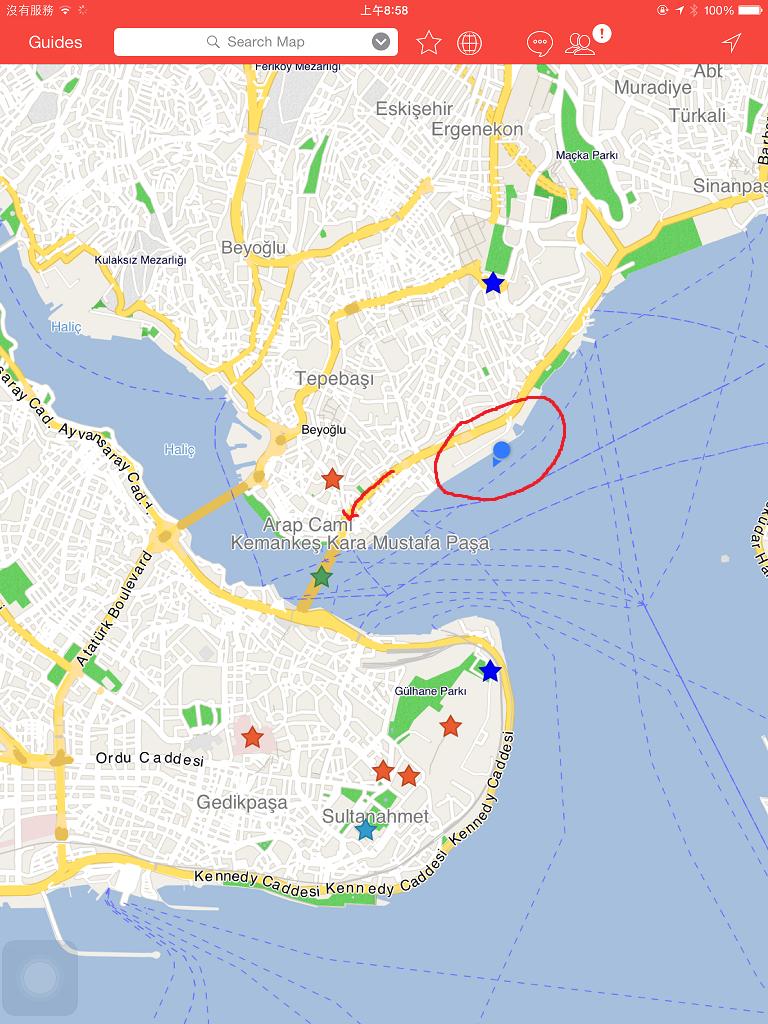 CityMaps2Go 顯示出郵輪停靠的位置