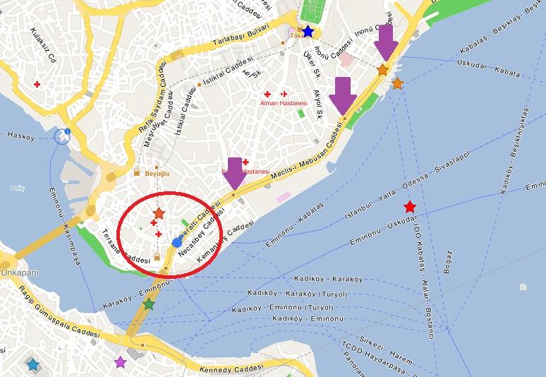 靠近碼頭的電車站有三個,要看哪一站離自己的郵輪比較近