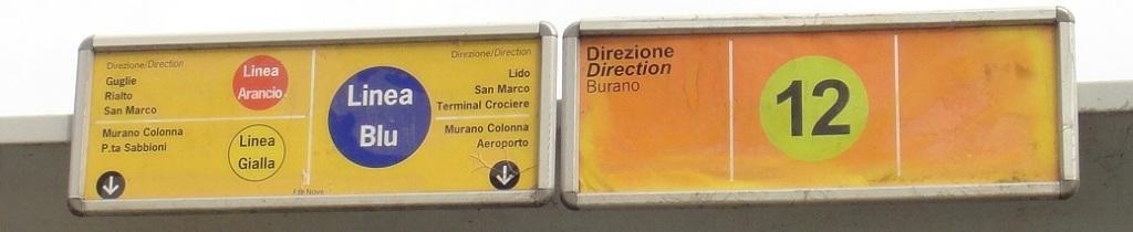 碼頭的標示:這站有停靠公船 #12 (到 Burano),以及 Alilaguna 的三條線