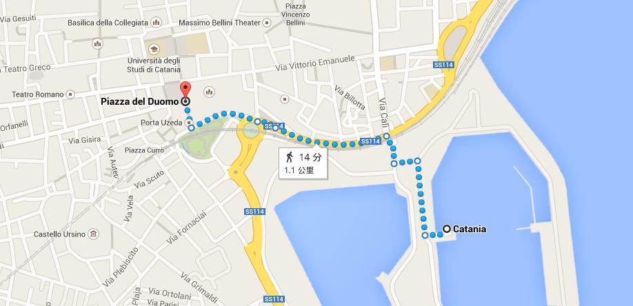 碼頭離最重要的 Piazza Duomo 走路約 15~20 分鐘
