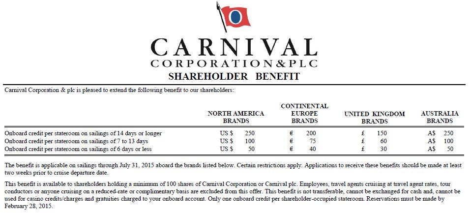 Carnival公司的股東回饋方案