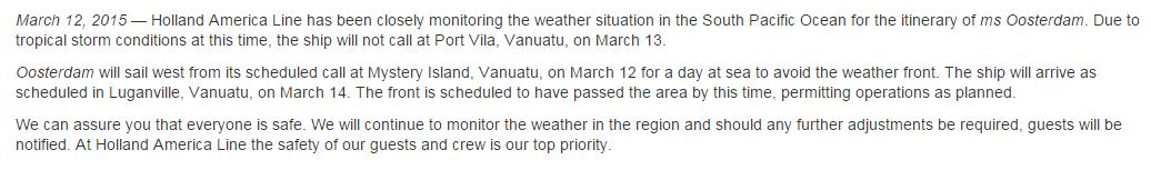 荷美郵輪一則因為氣候關係而取消停靠一站的訊息