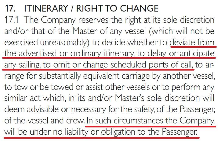 基於安全考量,依規定遊輪公司可以更改路線和停靠港口