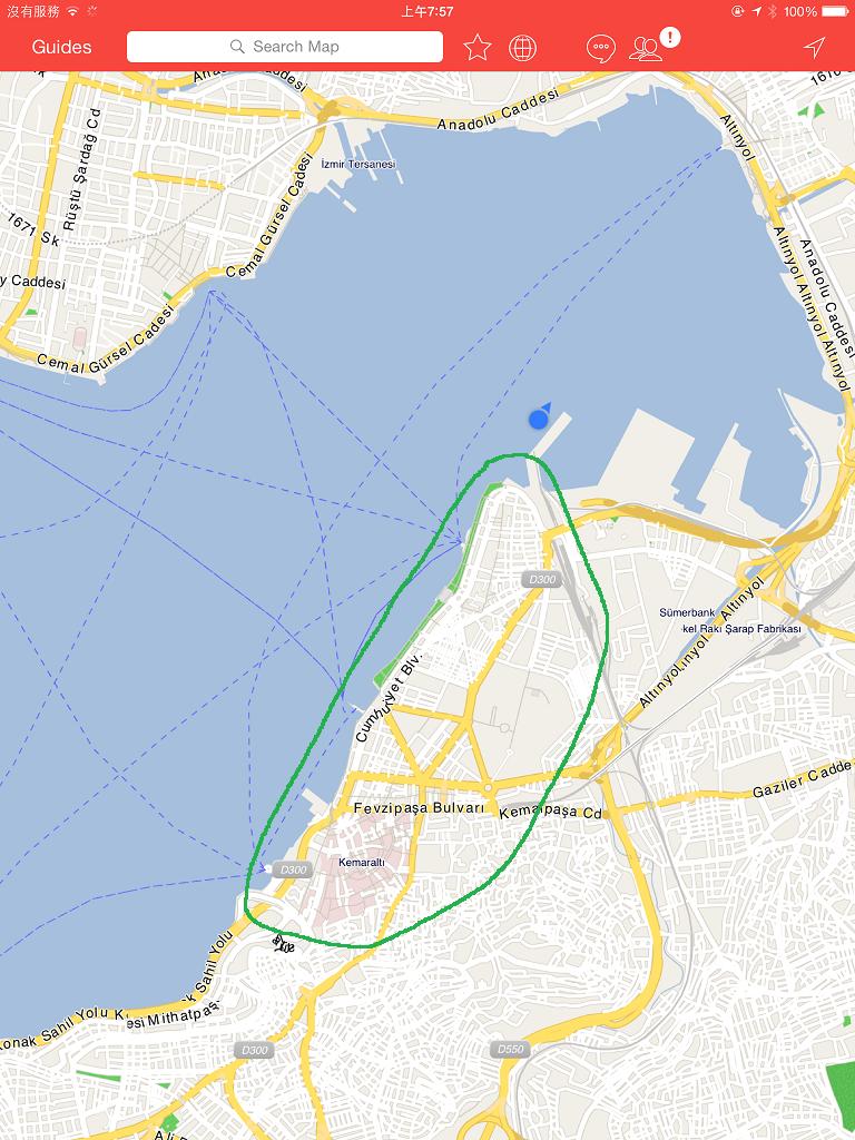 郵輪停靠的碼頭位置,綠色圈圈裡的是 Izmir 城市主要參觀區域