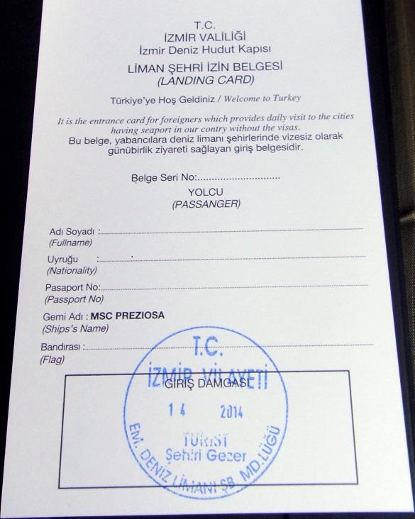 Izmir 的入境卡