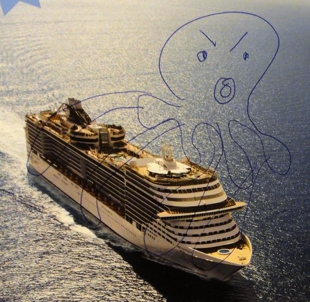 我們家 Eva 的塗鴉:深海大海怪?
