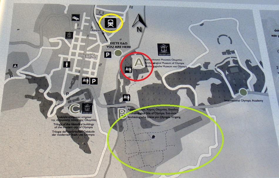 紅色圈圈是考古博物館,黃色圈圈是 Olympia 遺跡