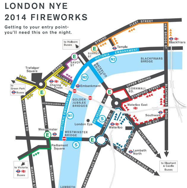 倫敦跨年煙火交通管制圖