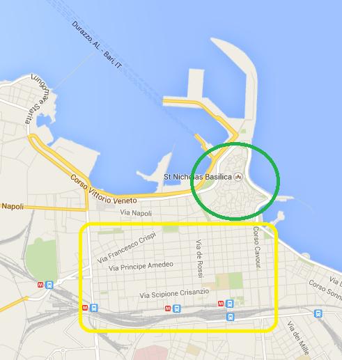綠色圈圈裡的是舊城區,黃色部分則是新城區