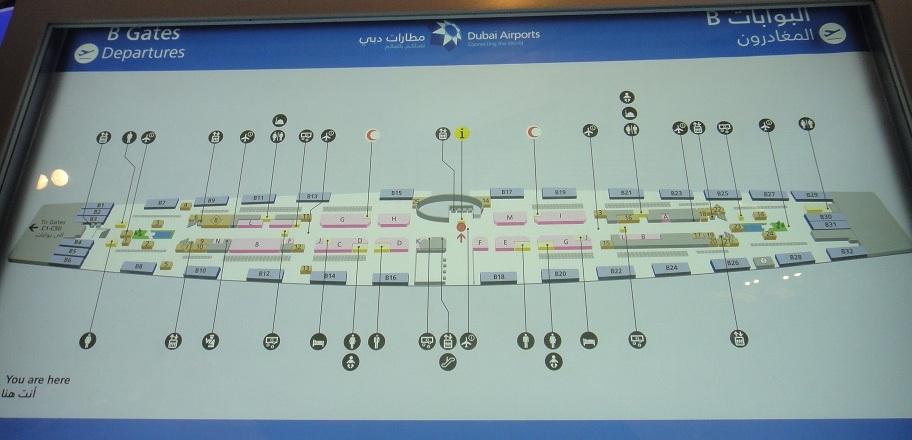 第三航廈平面圖 (在這個看板的旁邊 Wifi 最強,可惜只能免費用 30分鐘)