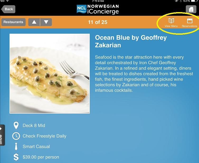 餐廳頁面的右上角,可以預先查詢每天的菜單,付費餐廳也會有可以預約的選項