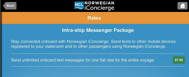 可以買 messenger package,在船上不限次數傳簡訊給其他人