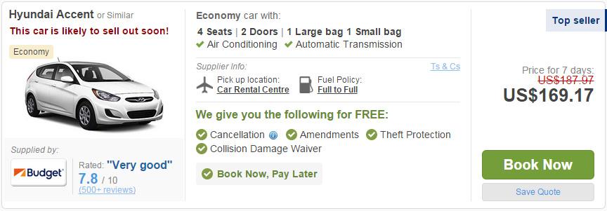 租車超過一個星期以上,價格經常都可以壓到一天20多美金而已