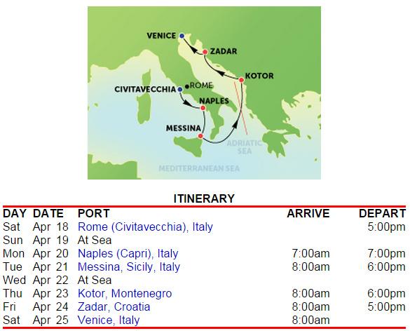羅馬進、威尼斯出,停靠亞得里亞海東岸