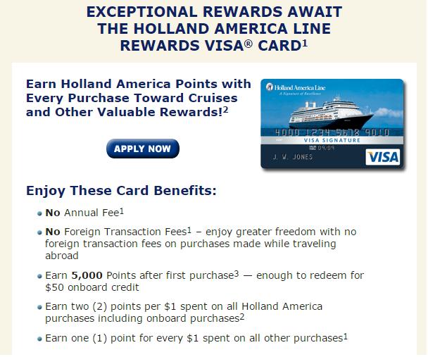 Holland America 的信用卡回饋計畫