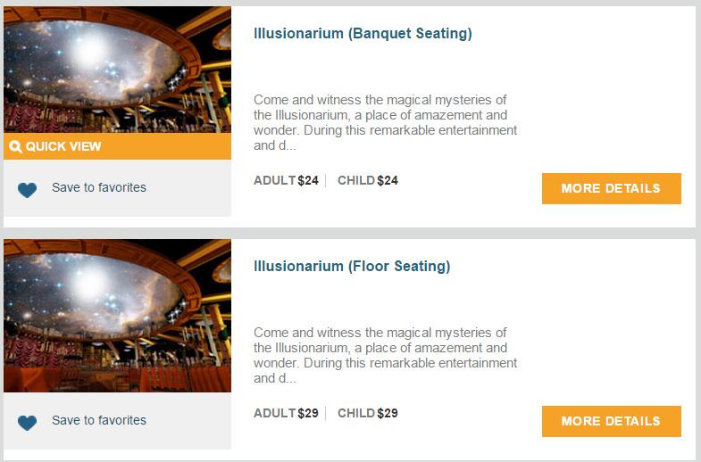Illusionarium 的票有兩種