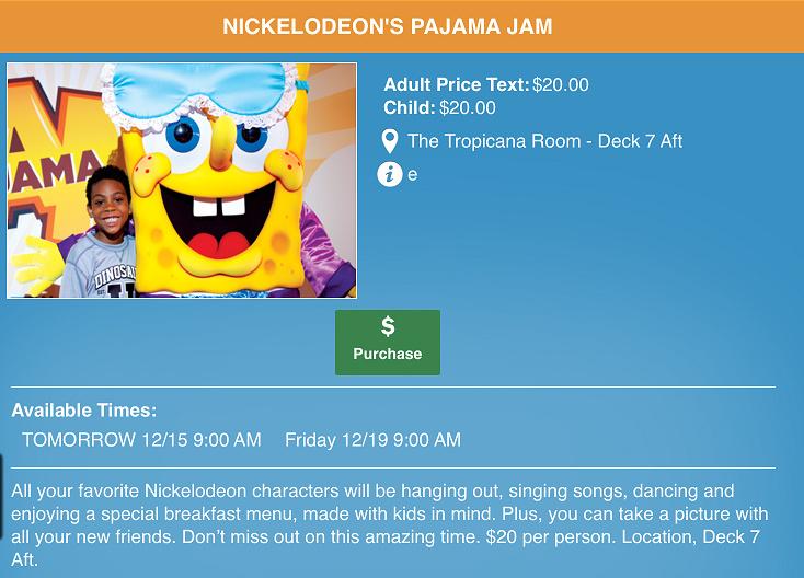 付費的 Nickelodeon's Pajama Jam : 在 Norwegian 船上可以跟海綿寶寶一起吃早餐 (不過要另外付錢 ...... 而且大人也要付費一起參加 !! ...... 那我們還是去 kids club 就好了~)