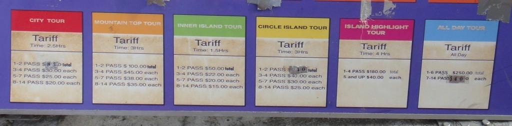 各種 local tour 所需時間和價格