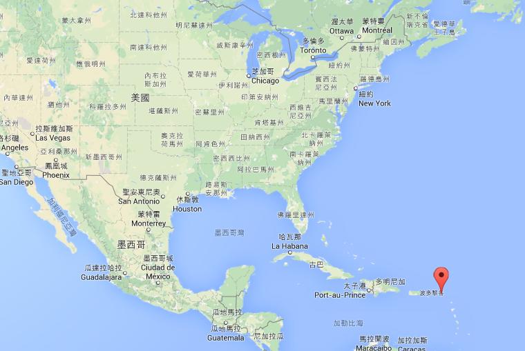 聖馬丁的地理位置 (很小...... 把 Google 地圖縮小後就看不到了......)