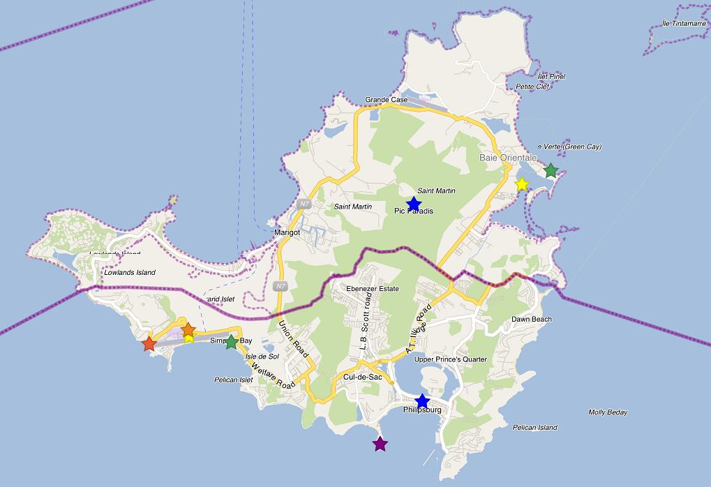 聖馬丁島主要觀光地點分布 (有點分散......)
