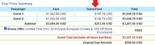 最後結帳的價格,除了船票價格之外還要加上其他費用