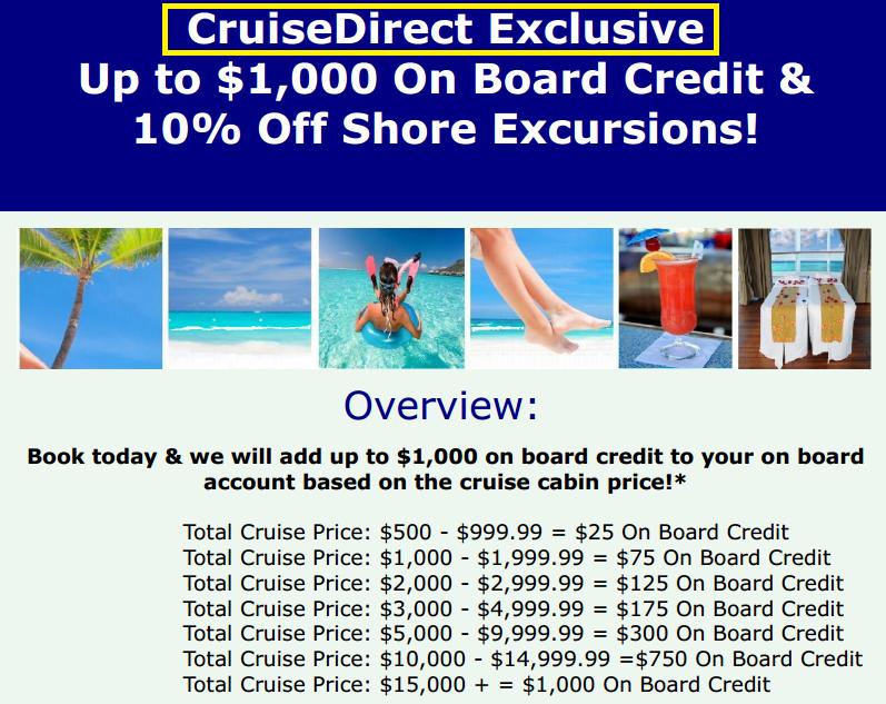 跟旅行社購買遊輪行程,有很多可以得到 onboard credit 的機會