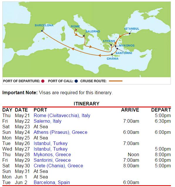 羅馬進、巴塞隆納出,蠻理想的地中海航程