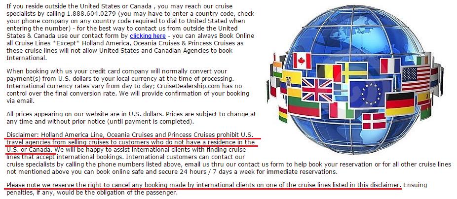 沒有簽國際合約的旅行社是不能銷售非美加居民的